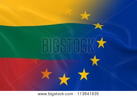Lithuanian And European Relations Concept Image - Flags Of Lithuania And The European Union Fading T