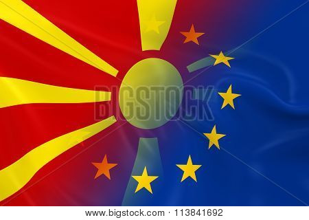 Macedonian And European Relations Concept Image - Flags Of Macedonia And The European Union Fading T