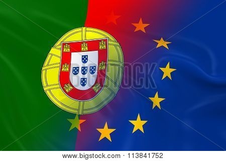 Portuguese And European Relations Concept Image - Flags Of Portugal And The European Union Fading To