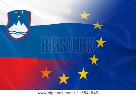 Slovenian And European Relations Concept Image - Flags Of Slovenia And The European Union Fading Tog