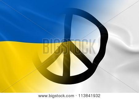 Peace in Ukraine Concept - Ukrainian Flag overlaid on White Peace Flag - 3D Illustration