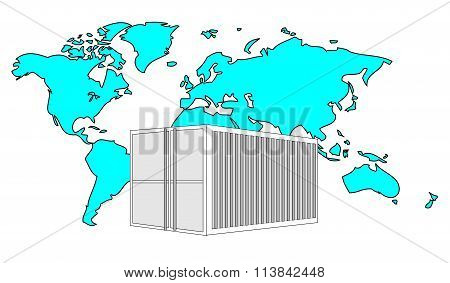 Illustration Of Metal 40 Ft Sea Container With Light Blue World Map