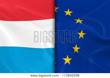 Flags Of Luxembourg And The European Union Split Down The Middle - 3D Render Of The Luxembourgian Fl