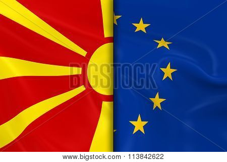 Flags Of Macedonia And The European Union Split Down The Middle - 3D Render Of The Macedonian Flag A