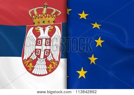 Flags Of Serbia And The European Union Split Down The Middle - 3D Render Of The Serbian Flag And Eu