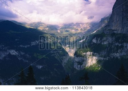 Mountain Valley in Swiss Alps in Sunset Colours