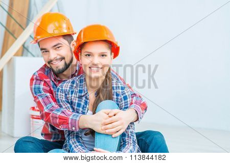 Pleasant couple embracing