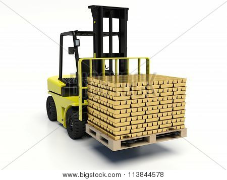 Forklift truck carrying gold bars.