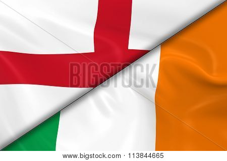 Flags Of England And Ireland Divided Diagonally - 3D Render Of The English Flag And Irish Flag With