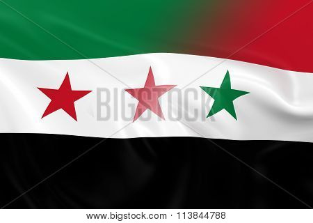 Syrian Crisis Concept Image - Flags Of The Syrian Opposition And Syrian Government Fading Together