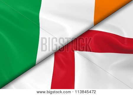 Flags Of Ireland And England Divided Diagonally - 3D Render Of The Irish Flag And English Flag With