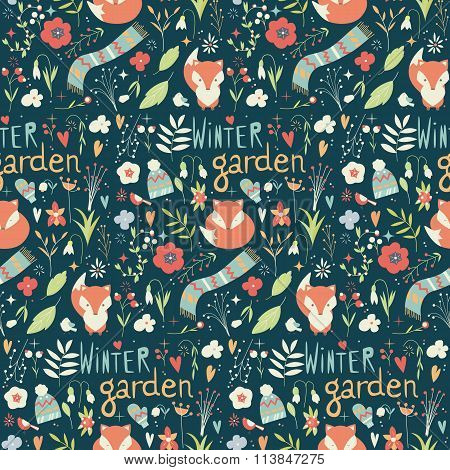 Seamless Pattern With Winter Garden Flowers, Foxes And Scarf, Hat And Mittens