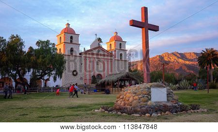 Old Mission Santa Barbara At Sunset