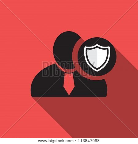 Defend Black Man Silhouette Icon On The Vintage Red Background, Long Shadow Flat Design Icon For For