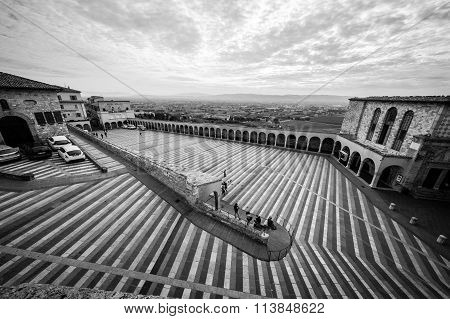 Assisi, Italy - November 21, 2015: Basilica of St. Francis of Assisi (Basilica Papale di San Francesco) with Lower Plaza in Assisi. Italy, 2015Umbria Italy