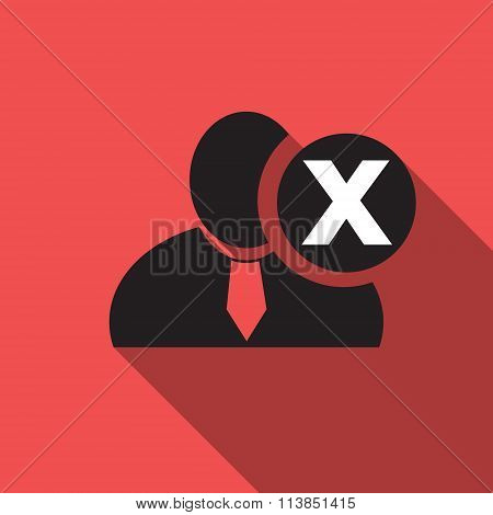 Delete Black Man Silhouette Icon On The Vintage Red Background, Long Shadow Flat Design Icon For For