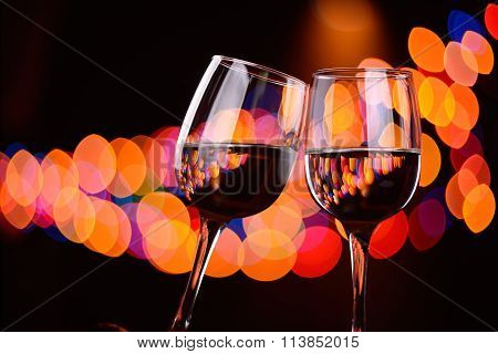 Two Wine Glasses Clink At The Party