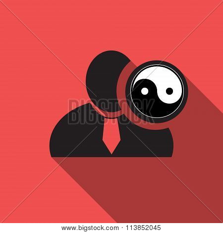 Yin Yang Black Man Silhouette Icon On The Vintage Red Background, Long Shadow Flat Design Icon For F