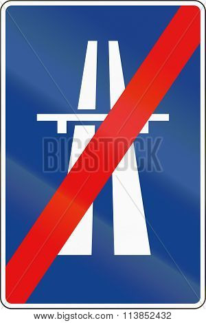 Road Sign Used In Spain - End Of Freeway