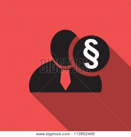 Section Or Paragraph Sign Black Man Silhouette Icon On The Red Vintage Background, Long Shadow Flat