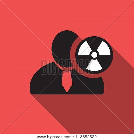 Radioactivity Black Man Silhouette Icon On The Red Vintage Background, Long Shadow Flat Design Icon