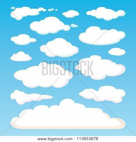 Pattern of white clouds isolated on blue sky background