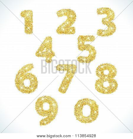 Numbers set in golden style. Vector illustration gold design