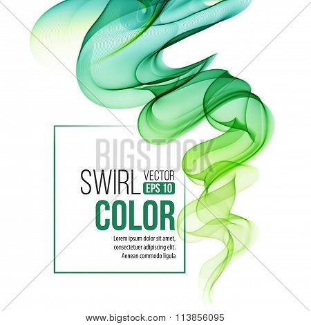 Abstract green swirl background. Vector illustration