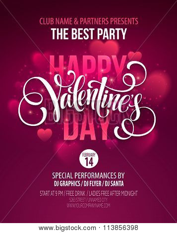 Valentines Day Party Poster Design. Template of invitation, flyer, poster or greeting card. Vector i