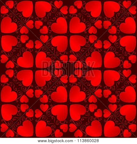 Decorative Valentine's Seamless Pattern With Scarlet Gradient Heart Shapes On Dark Red Backgroun