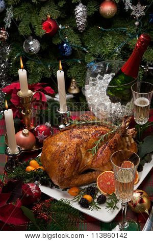 Christmas Turkey Dinner With Champagne