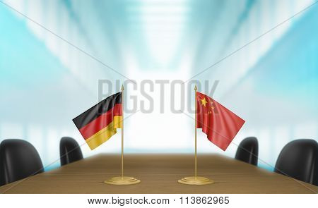 Germany and China relations and trade deal talks 3D rendering