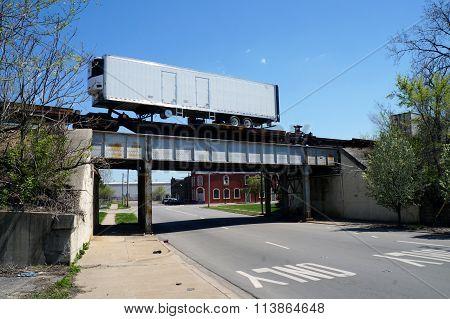Train Crosses a Railroad Bridge