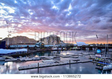 Sydney, Australia - Februa 23, 2016: Sunset Of Darling Harbour