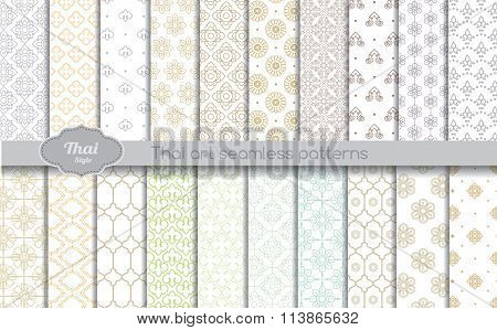 Vector Damask Seamless Pattern Background. Thai Style Seamless Patterns