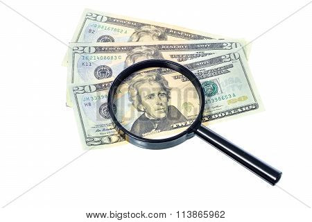 Dollar Banknote Under A Magnifying Glass Is Being Inspected On White Background