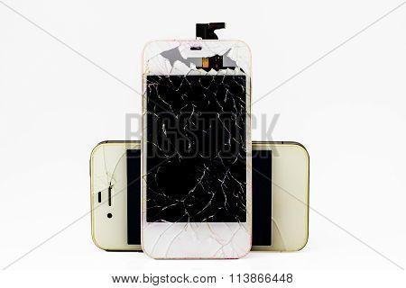 Modern Smartphone With Broken Screen