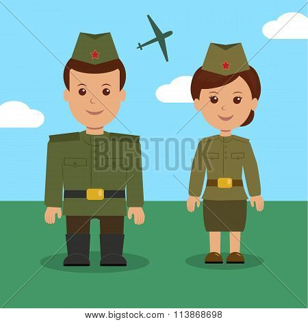Man and woman in uniform of the Russian military. Characters military for background on 23 February