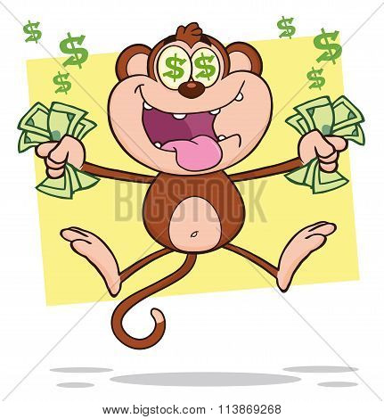 Greedy Monkey Cartoon Character