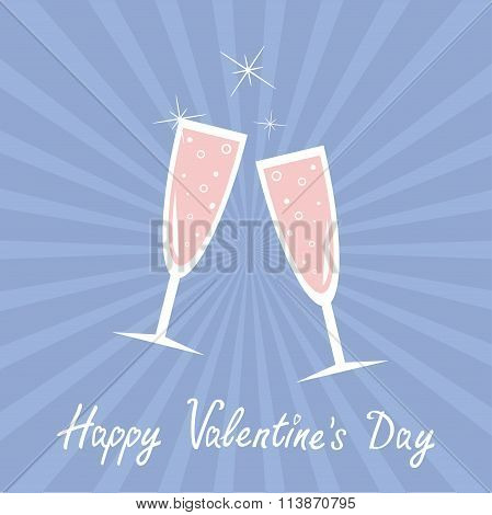 Champagne Glasses. Sunburst. Happy Valentines Day Card. Rose Quartz Serenity Color Background