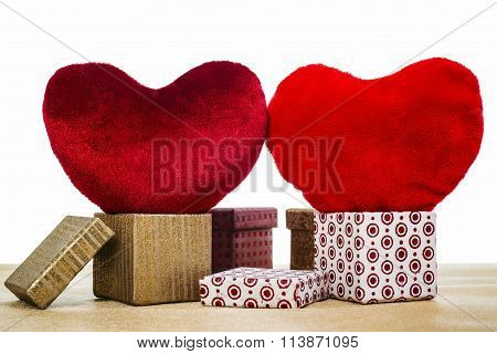 Two Red Velour Hearts And Boxes