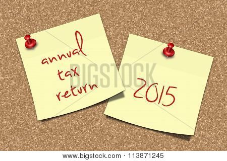 Notes With Annual Tax Return Text Pinned To Pin Board