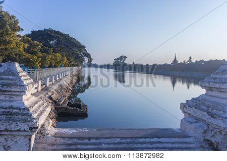 Bastions Of Mandalay Palace At Day. Burma.