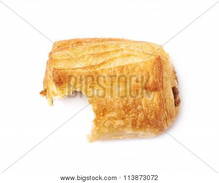Meat filled pastry bun isolated