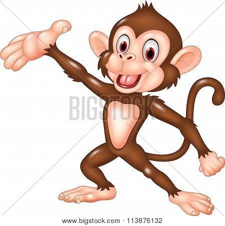 Cartoon funny monkey presenting isolated on white background