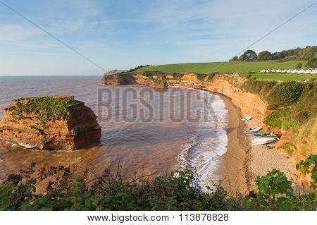 Devon coast Ladram Bay beach England UK located between Budleigh Salterton and Sidmouth