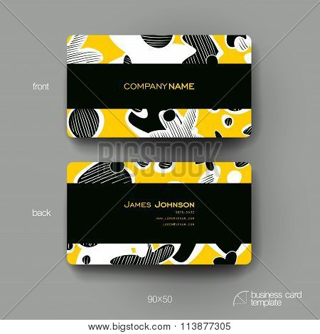Business card vector template with abstract background