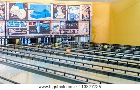 Retro Style Bowling Alley With Old-time Adds