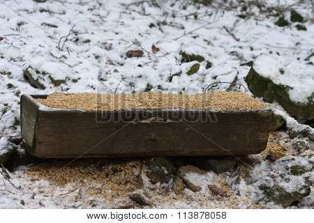 Wooden Trough Full Of Grain  For Wild Animals  In Snowy Forest