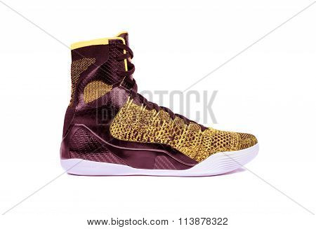 Modern High-top Yellow And Red Basketball Shoe Sneaker